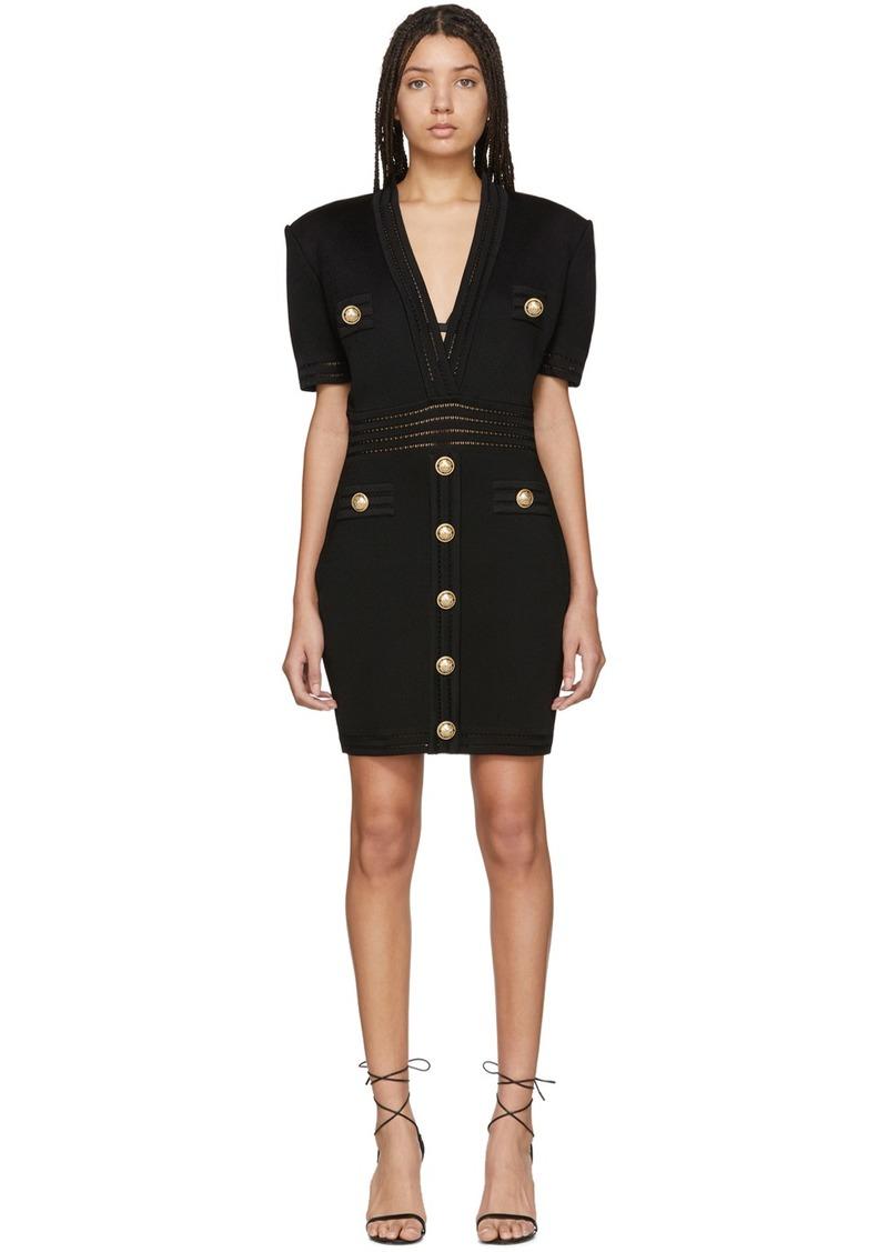 Balmain Black Knit Short Dress