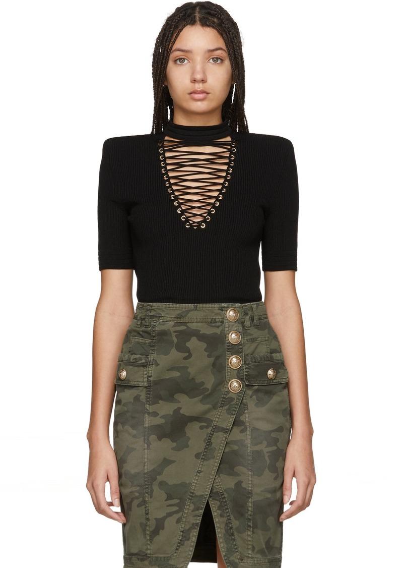 Balmain Black Lace-Up Sweater