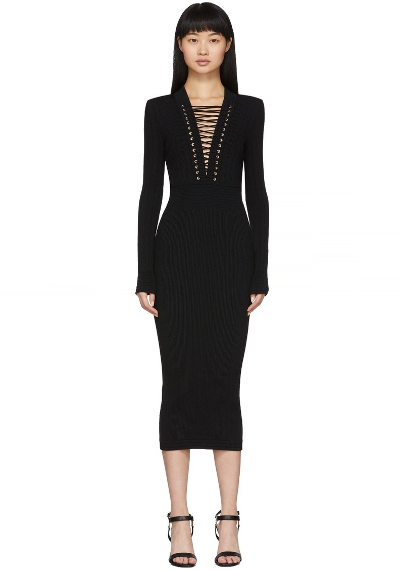 Balmain Black Lace-Up V-Neck Midi Dress