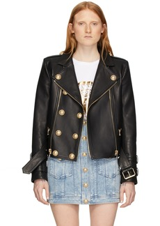 Balmain Black Leather 6-Button Biker Jacket
