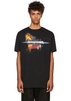 Balmain Black Oversized Printed Cotton T-Shirt