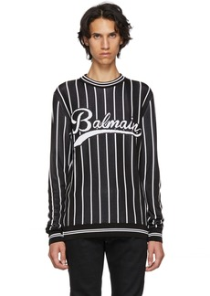 Balmain Black Striped Logo Sweater