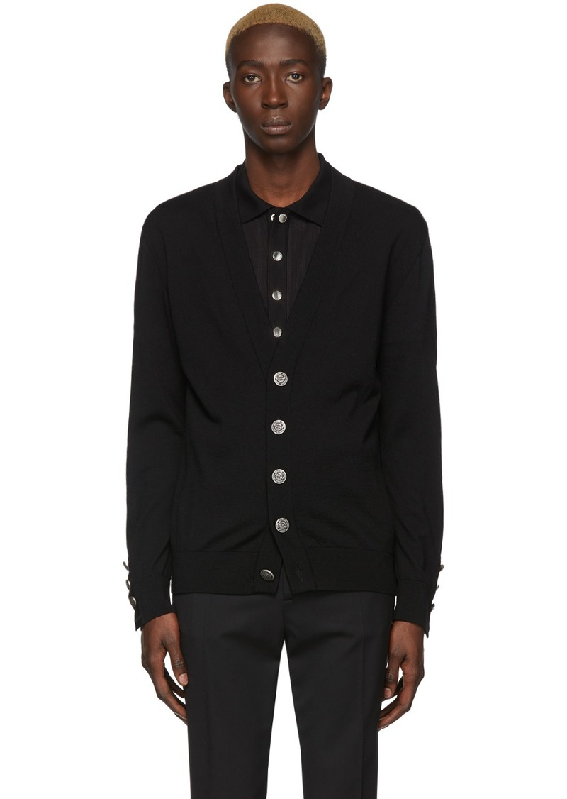 Balmain Black Wool Cardigan