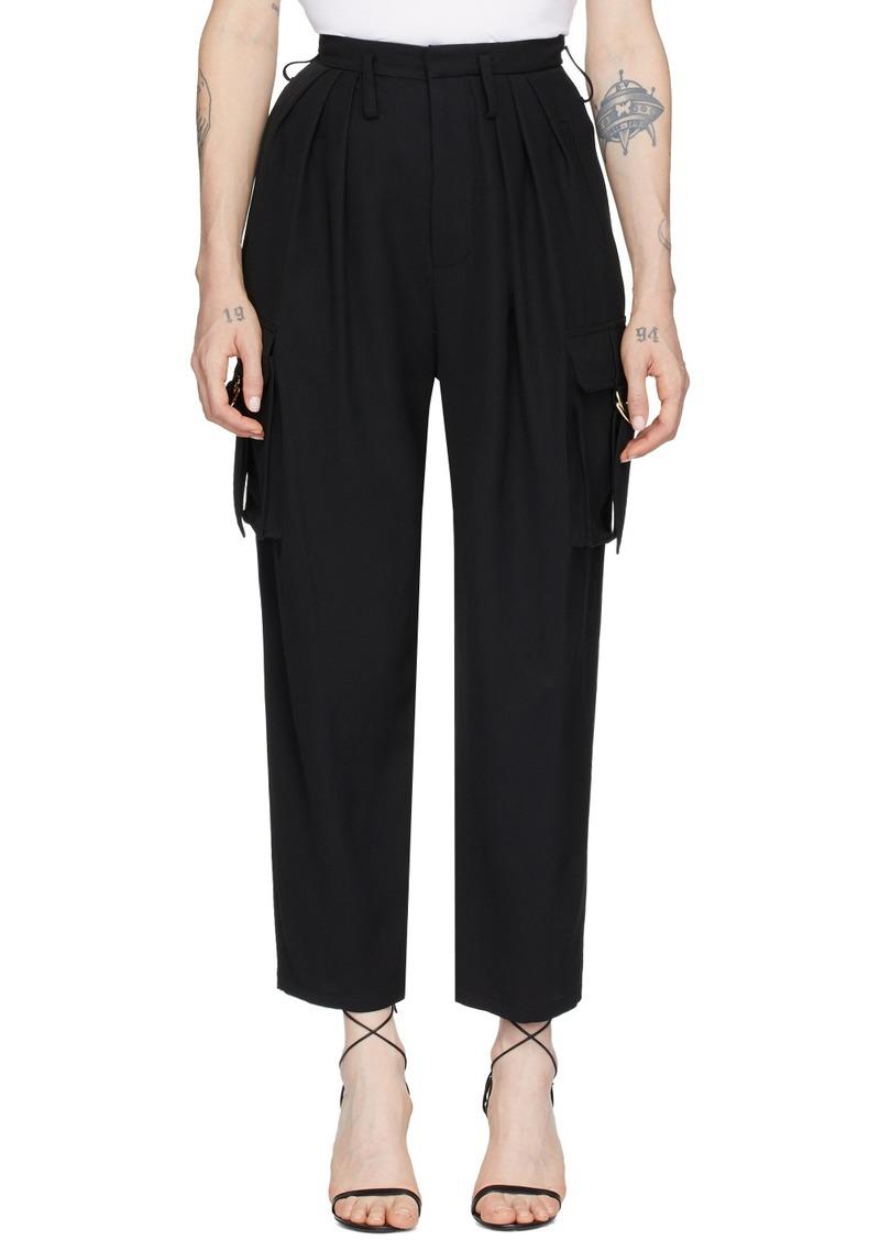 Balmain Black Wool Cropped High-Waist Cargo Trousers
