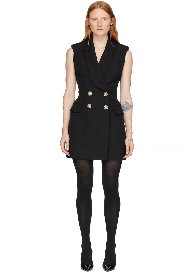 Balmain Black Wool Short Dress