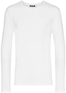 Balmain blanc white long sleeve logo tshirt
