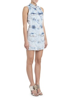 Balmain Bleached Denim Mini Dress