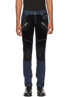Balmain Blue Denim & Velvet Jeans