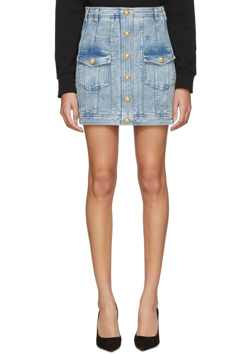 Balmain Blue Denim Buttoned Miniskirt
