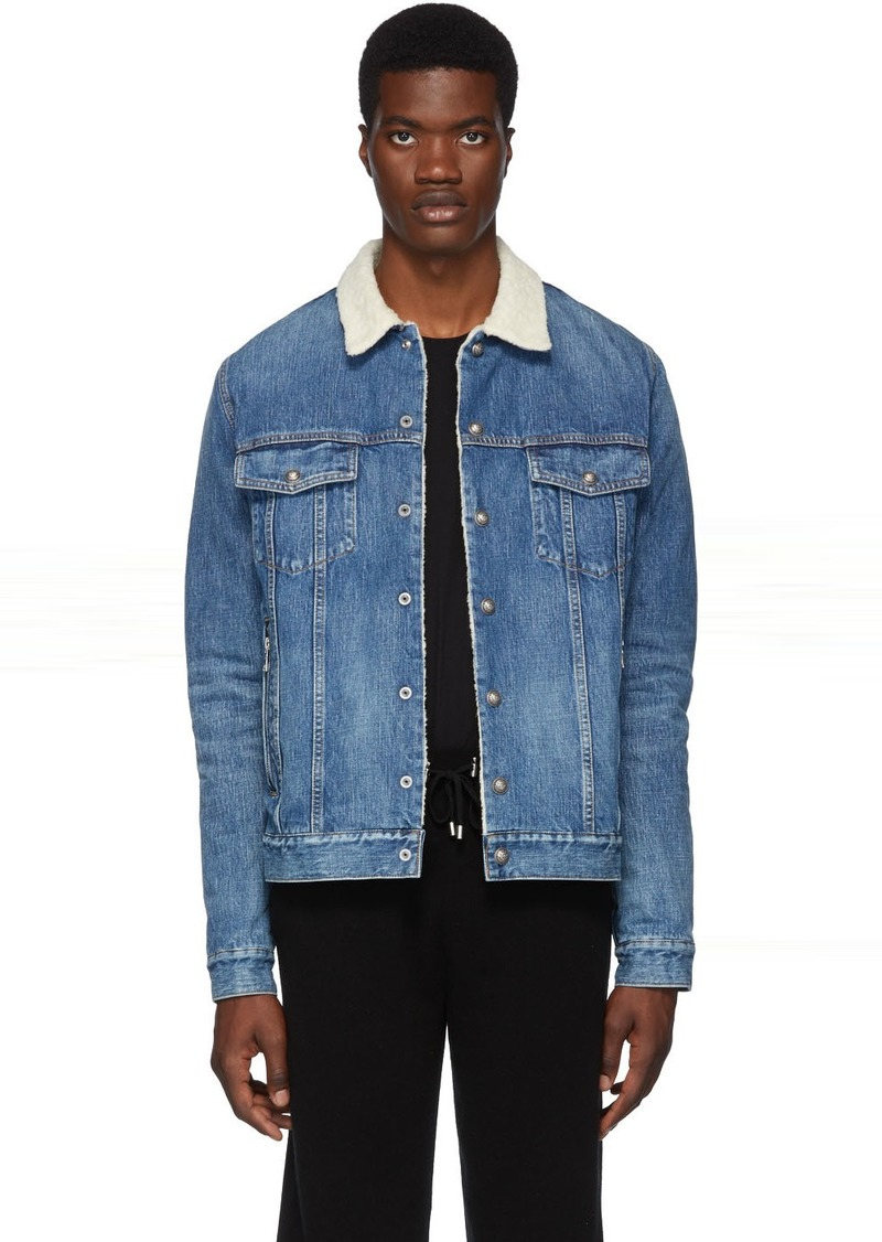Balmain Blue Denim Shearling Jacket