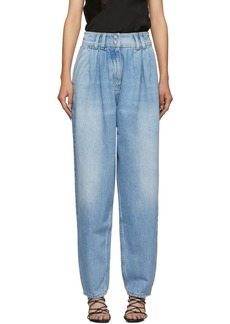 Balmain Blue High-Waisted Tapered Jeans