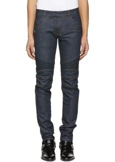 Balmain Blue Raw Denim Biker Jeans
