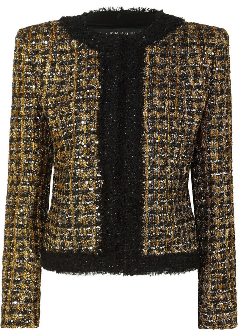 Balmain Button And Sequin-embellished Metallic Tweed Blazer