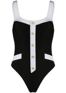 Balmain button appliqué swimsuit