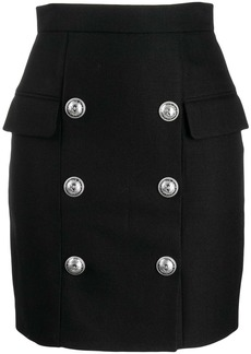 Balmain button detail high waisted skirt
