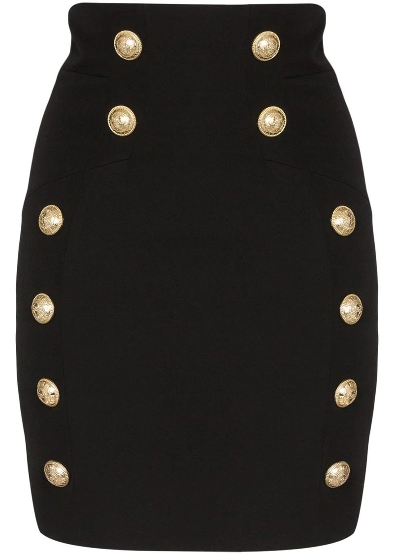 Balmain button-detail mini skirt