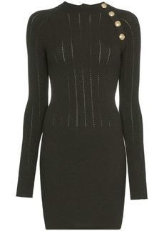Balmain Button-detail wool-blend dress