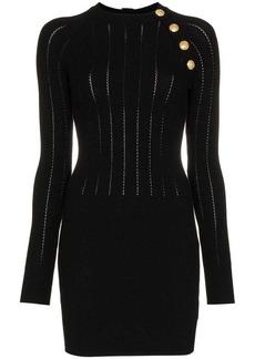 Balmain button detail wool-blend mini dress
