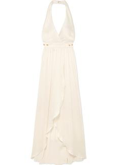 Balmain Button-detailed Plissé Silk-crepe Gown