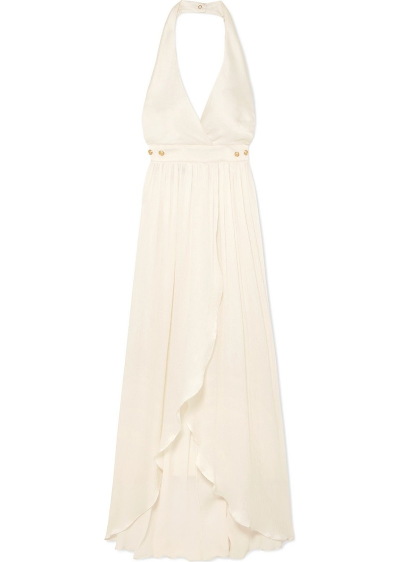 Balmain Button-detailed Plissé Silk-crepe Gown