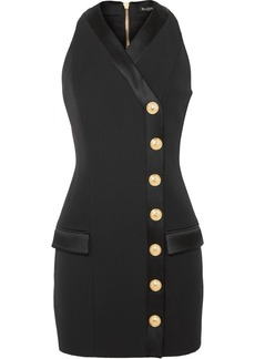 Balmain Button-detailed Satin-trimmed Grain De Poudre Wool Mini Dress