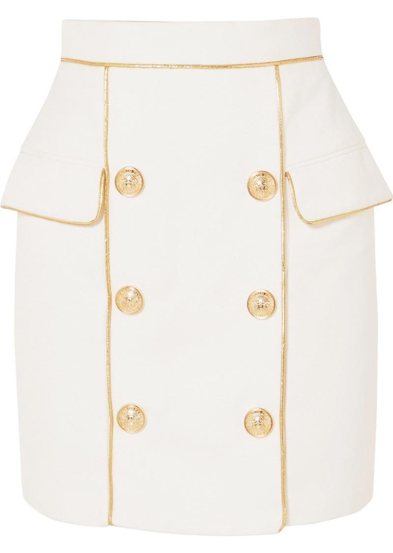 Balmain Button-embellished Woven Mini Skirt