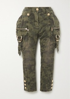 Balmain Cropped Button-embellished Camouflage-print Denim Slim-leg Pants