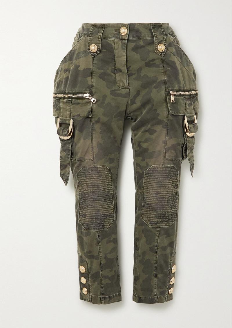 Balmain Cropped Button-embellished Camouflage-print Denim Slim-leg Pants