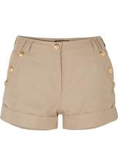 Balmain Button-embellished Cotton And Linen-blend Shorts