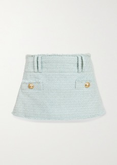 Balmain Button-embellished Cotton-blend Tweed Mini Skirt