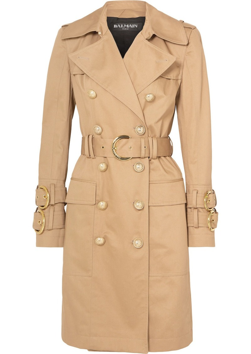 Balmain Button-embellished Cotton-twill Trench Coat
