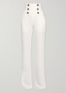 Balmain Button-embellished Crepe Wide-leg Pants