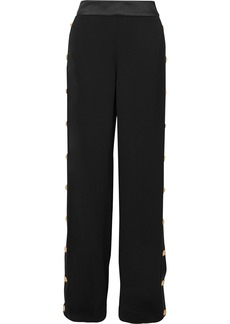 Balmain Button-embellished Crepe Wide-leg Track Pants