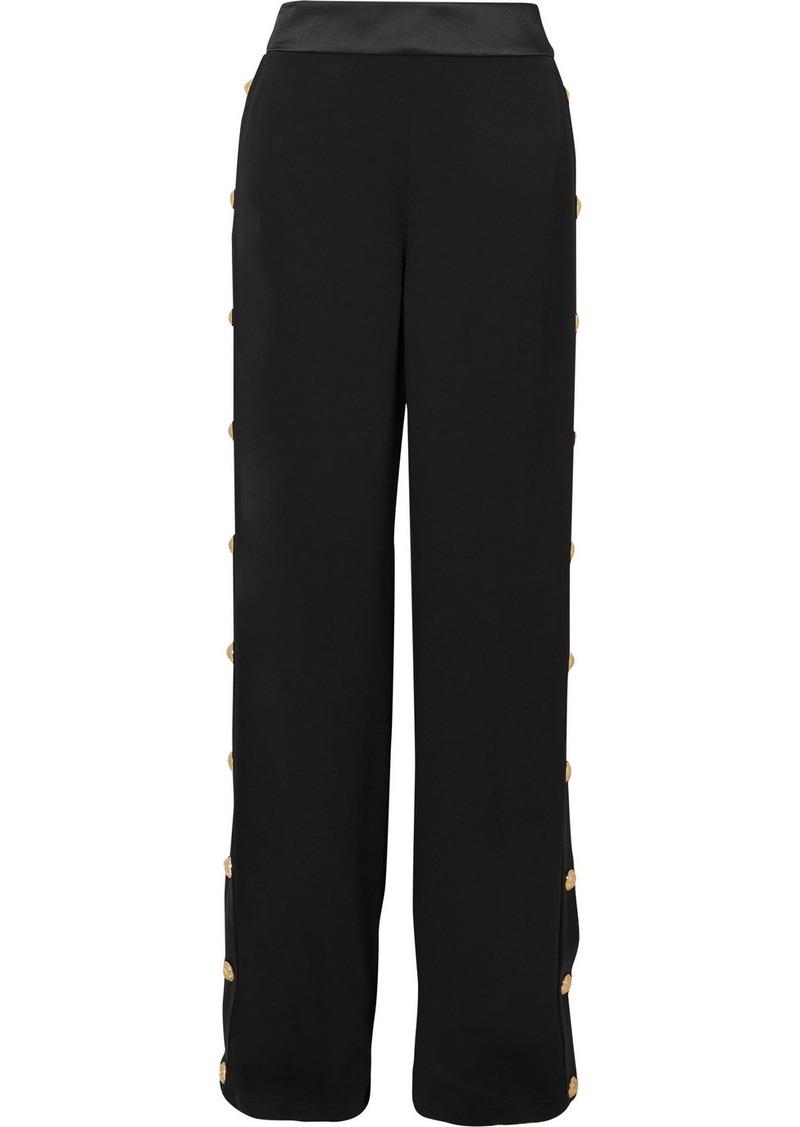 Balmain Button-embellished Crepe Wide-leg Track Pants