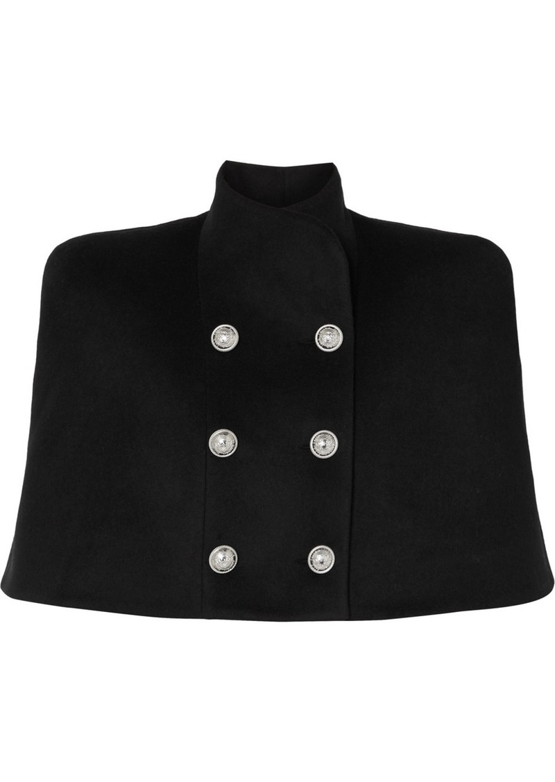 Balmain Button-embellished Double-breasted Wool And Cashmere-blend Cape