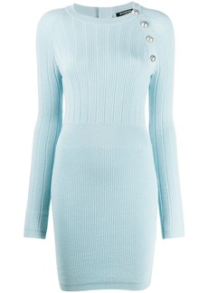 Balmain button-embellished fitted dress