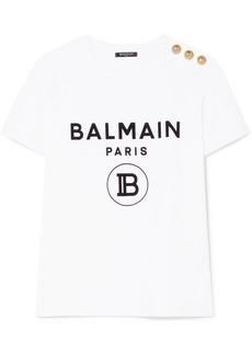 Balmain Button-embellished Flocked Cotton-jersey T-shirt