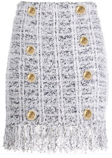 Balmain button-embellished fringed skirt