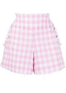 Balmain button-embellished gingham tweed shorts
