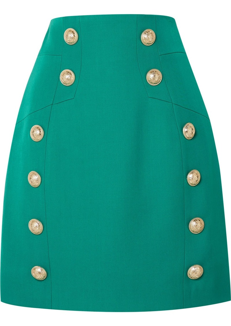 Balmain Button-embellished Grain De Poudre Wool Mini Skirt