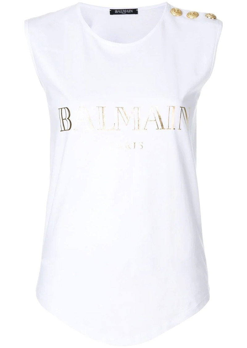 Balmain button-embellished logo tank