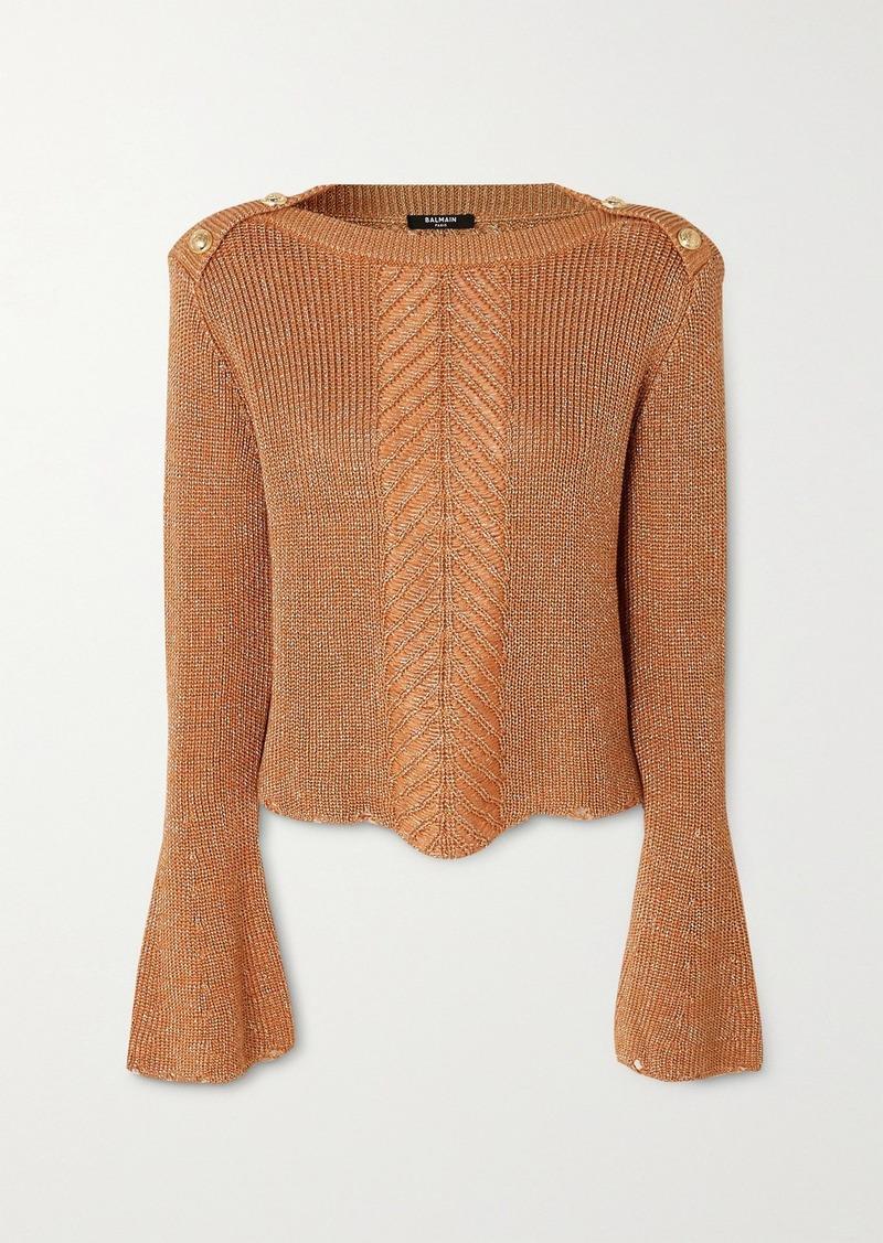 Balmain Button-embellished Metallic Cable-knit Sweater