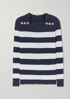 Balmain Button-embellished Metallic Striped Ribbed-knit Sweater