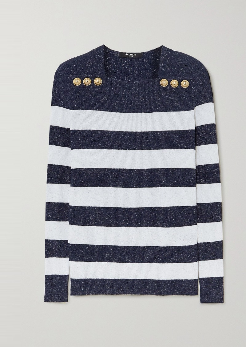 Balmain Button-embellished Metallic Striped Ribbed-knit Sweater