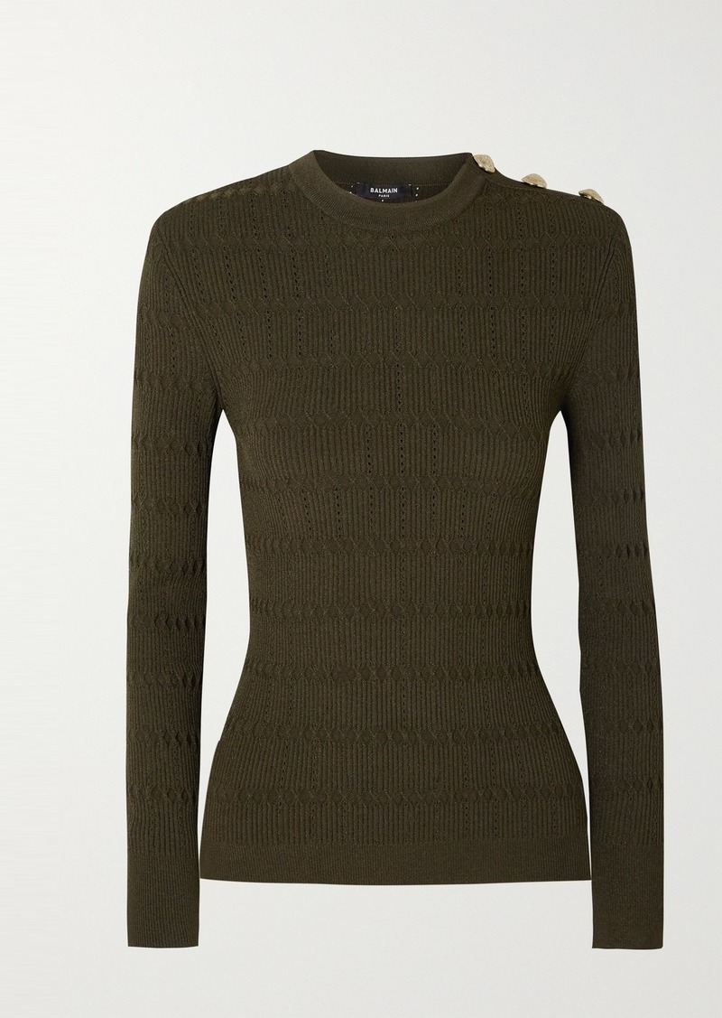Balmain Button-embellished Pointelle-trimmed Jacquard-knit Sweater