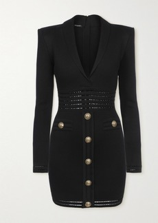 Balmain Button-embellished Pointelle-trimmed Stretch-knit Mini Dress