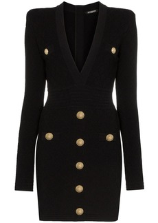 Balmain button-embellished quilted dress