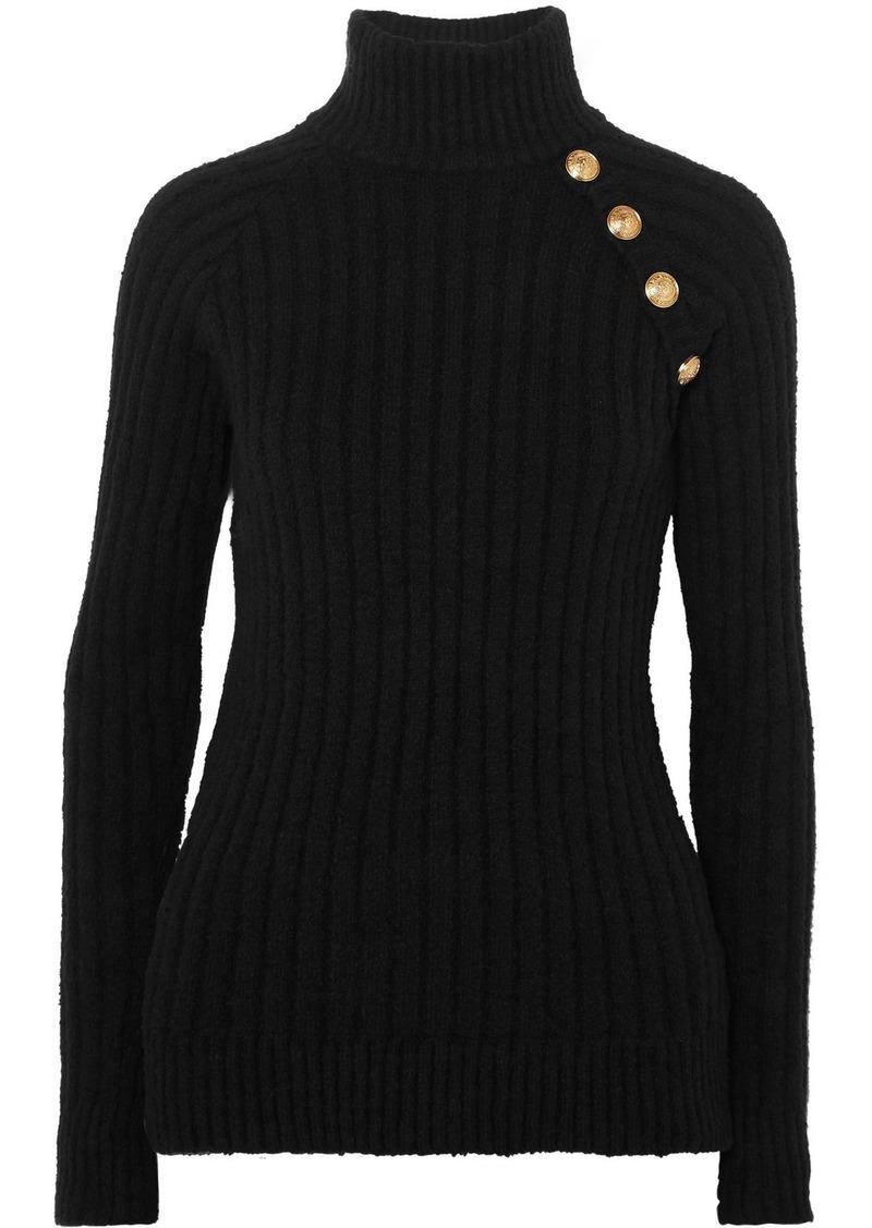 Balmain Button-embellished Ribbed Cotton-blend Turtleneck Sweater