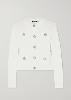 Balmain Button-embellished Ribbed-knit Cardigan