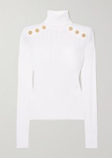 Balmain Button-embellished Ribbed-knit Turtleneck Sweater